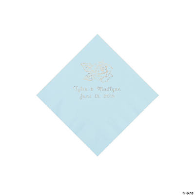 Light Blue Rose Personalized Napkins - Beverage Image Thumbnail