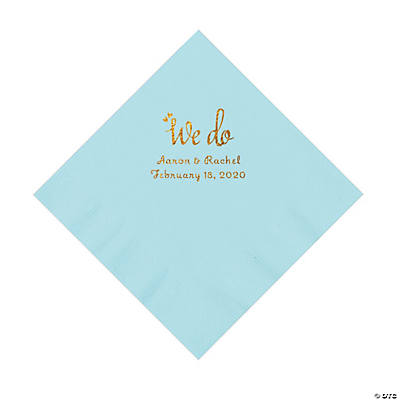Light Blue We Do Personalized Napkins with Gold Foil - Luncheon Image Thumbnail
