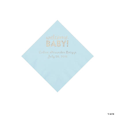 Light Blue Welcome Baby Personalized Napkins with Silver Foil - Beverage Image Thumbnail