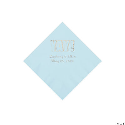 Light Blue Yay Personalized Napkins with Silver Foil - Beverage Image Thumbnail