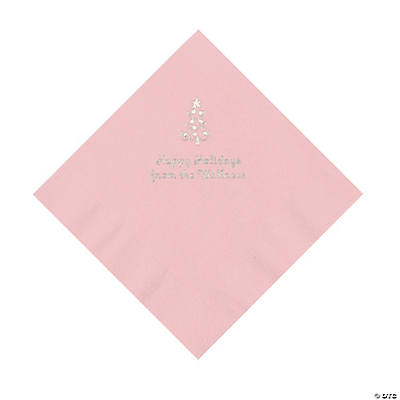 Light Pink Christmas Tree Personalized Napkins with Silver Foil – Luncheon Image Thumbnail