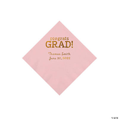 Light Pink Congrats Grad Personalized Napkins with Gold Foil - Beverage Image Thumbnail
