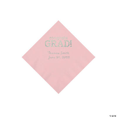 Light Pink Congrats Grad Personalized Napkins with Silver Foil - Beverage Image Thumbnail