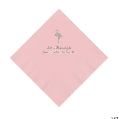 Light Pink Flamingo Personalized Napkins with Silver Foil - Luncheon