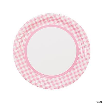 sc 1 st  Fun Express & Light Pink Gingham Dinner Plates