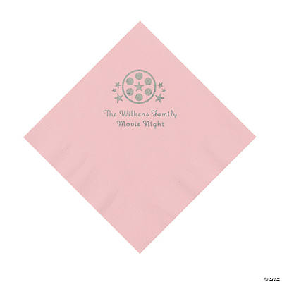Light Pink Movie Night Personalized Napkins with Silver Foil – Luncheon Image Thumbnail