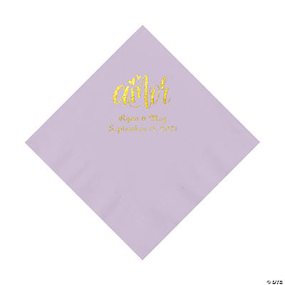 Lilac Amor Personalized Napkins with Gold Foil - Luncheon Image Thumbnail