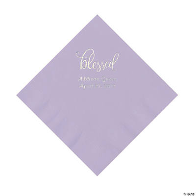 Lilac Blessed Personalized Napkins with Silver Foil - Luncheon Image Thumbnail
