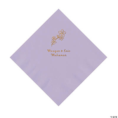Lilac Blossom Branch Personalized Napkins with Gold Foil - Luncheon Image Thumbnail