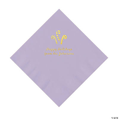 Lilac Candy Cane Personalized Napkins with Gold Foil – Luncheon Image Thumbnail
