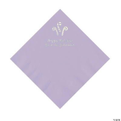 Lilac Candy Cane Personalized Napkins with Silver Foil – Luncheon Image Thumbnail