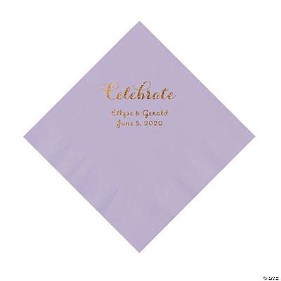 Lilac Celebrate Personalized Napkins with Gold Foil - Luncheon Image Thumbnail
