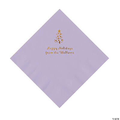 Lilac Christmas Tree Personalized Napkins with Gold Foil – Luncheon Image Thumbnail