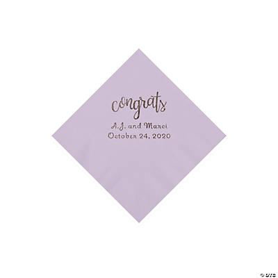 Lilac Congrats Personalized Napkins with Silver Foil - Beverage Image Thumbnail