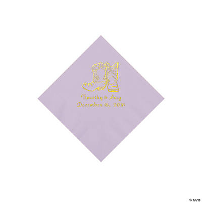Lilac Cowboy Boots Personalized Napkins with Gold Foil - Beverage Image Thumbnail