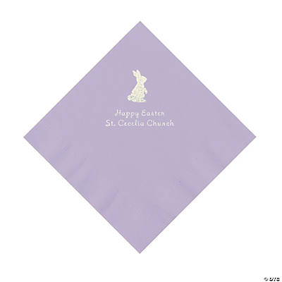 Lilac Easter Bunny Personalized Napkins with Silver Foil - Luncheon Image Thumbnail