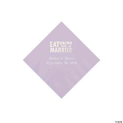 Lilac Eat, Drink And Be Married Napkins with Silver Foil - Beverage Image Thumbnail
