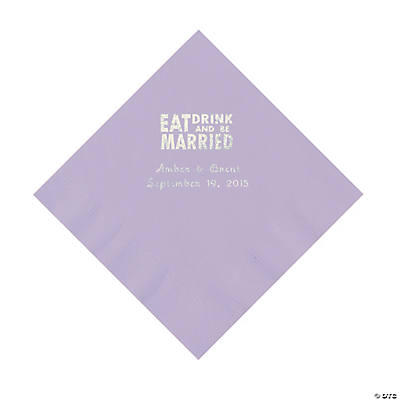 Lilac Eat, Drink And Be Married Napkins with Silver Foil - Luncheon Image Thumbnail