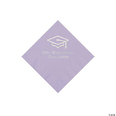 Lilac Grad Mortarboard Personalized Napkins with Silver Foil – Beverage Image Thumbnail