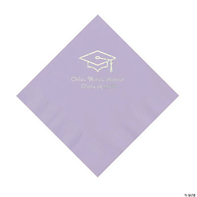 Lilac Grad Mortarboard Personalized Napkins with Silver Foil – Luncheon Image Thumbnail