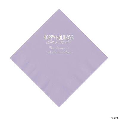 Lilac Happy Holidays Personalized Napkins with Silver Foil – Luncheon Image Thumbnail