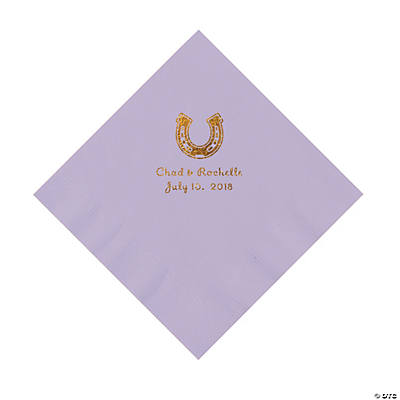 Lilac Horseshoe Personalized Napkins with Gold Foil - Luncheon Image Thumbnail