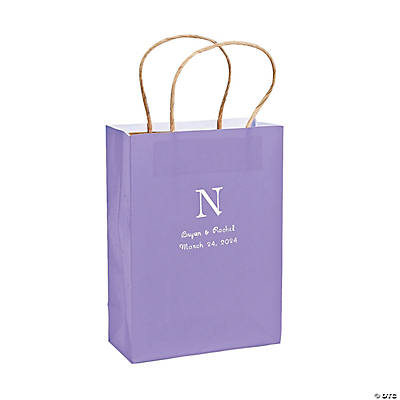 Lilac Medium Personalized Monogram Welcome Gift Bags with Silver Foil Image Thumbnail
