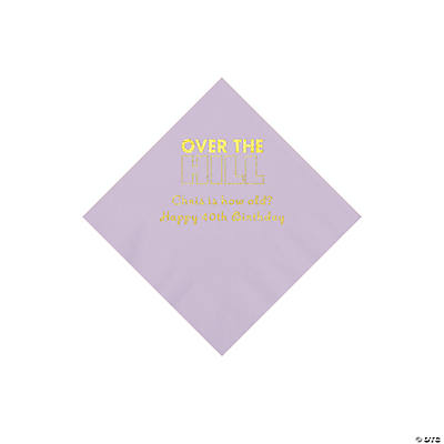 Lilac Over the Hill Personalized Napkins with Gold Foil - Beverage Image Thumbnail