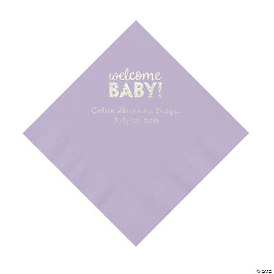 Lilac Welcome Baby Personalized Napkins with Silver Foil – Luncheon Image Thumbnail