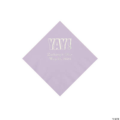 Lilac Yay Personalized Napkins with Silver Foil - Beverage Image Thumbnail