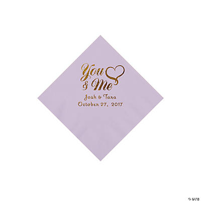 Lilac You & Me Heart Personalized Napkins with Gold Foil – Beverage