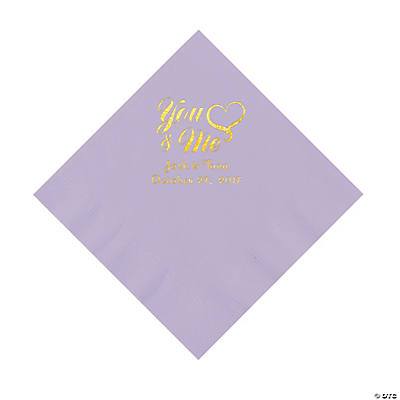 Lilac You & Me Heart Personalized Napkins with Gold Foil – Luncheon