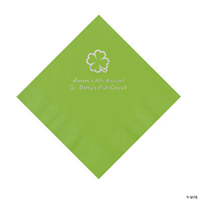 Lime Green 4-Leaf Clover Personalized Napkins with Silver Foil - Luncheon Image Thumbnail