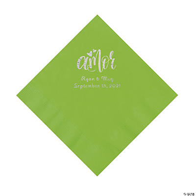 Lime Green Amor Personalized Napkins with Silver Foil - Luncheon Image Thumbnail