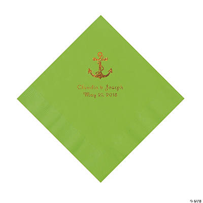 Lime Green Anchor Personalized Napkins with Gold Foil - Luncheon Image Thumbnail