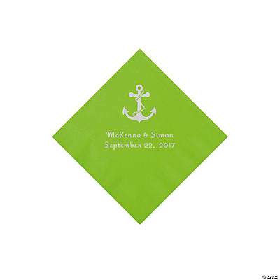 Lime Green Anchor Personalized Napkins with Silver Foil - Beverage Image Thumbnail
