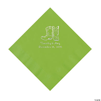 Lime Green Blue Cowboy Boots Personalized Napkins with Silver Foil - Luncheon Image Thumbnail