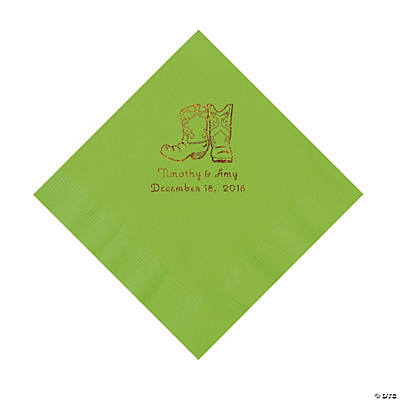 Lime Green Cowboy Boots Personalized Napkins with Gold Foil - Luncheon Image Thumbnail
