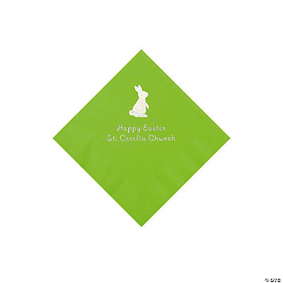 Lime Green Easter Bunny Personalized Napkins with Silver Foil - Beverage Image Thumbnail