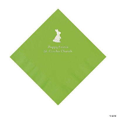 Lime Green Easter Bunny Personalized Napkins with Silver Foil - Luncheon Image Thumbnail