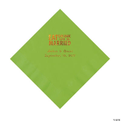 Lime Green Eat Drink & Be Married Personalized Napkins with Gold Foil - Luncheon Image Thumbnail