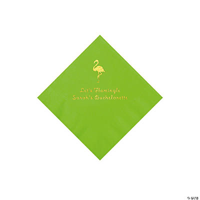 Lime Green Flamingo Personalized Napkins with Gold Foil - Beverage