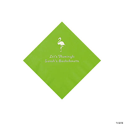 Lime Green Flamingo Personalized Napkins with Silver Foil - Beverage Image Thumbnail