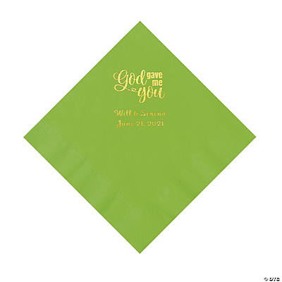 Lime Green God Gave Me You Personalized Napkins with Gold Foil - Luncheon Image Thumbnail