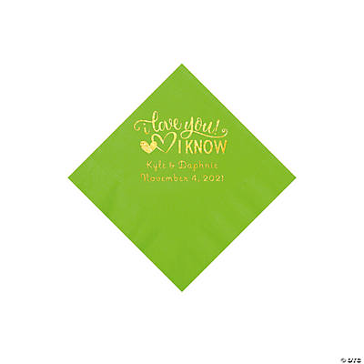 Lime Green I Love You, I Know Personalized Napkins with Gold Foil - Beverage Image Thumbnail