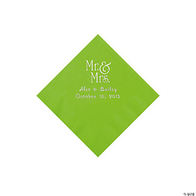 Lime Green Mr. & Mrs. Personalized Napkins with Silver Foil - Beverage Image Thumbnail