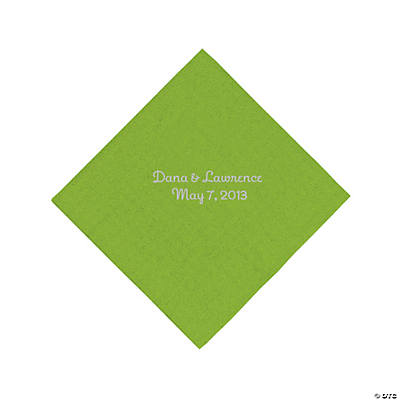 Lime Green Personalized Luncheon Napkins with Silver Print Image Thumbnail