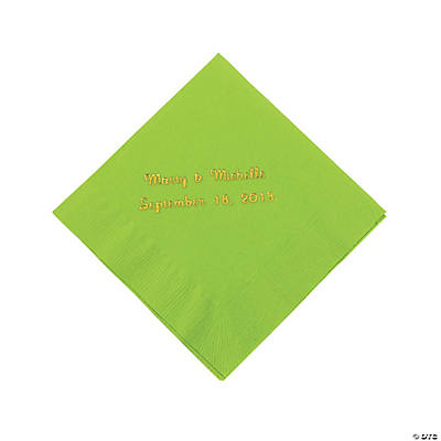 Lime Green Personalized Napkins with Gold Foil - Beverage Image Thumbnail