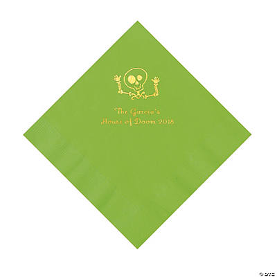 Lime Green Skeleton Personalized Napkins with Gold Foil - Luncheon Image Thumbnail