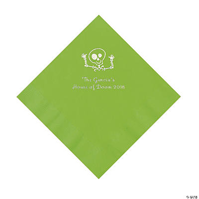 Lime Green Skeleton Personalized Napkins with Silver Foil - Luncheon Image Thumbnail